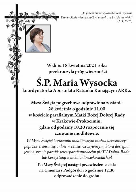 Czytaj więcej: Zmarła Maria Wysocka - koordynatorka ARKi